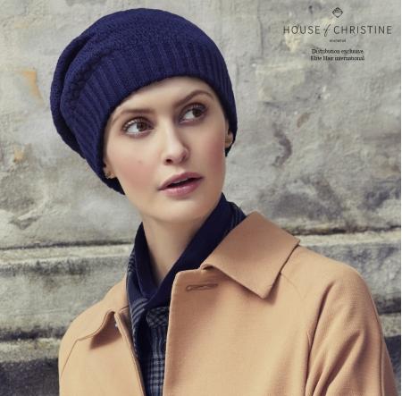 Bonnet chimio, bonnet viva, oslo bleu, Christine Headwear