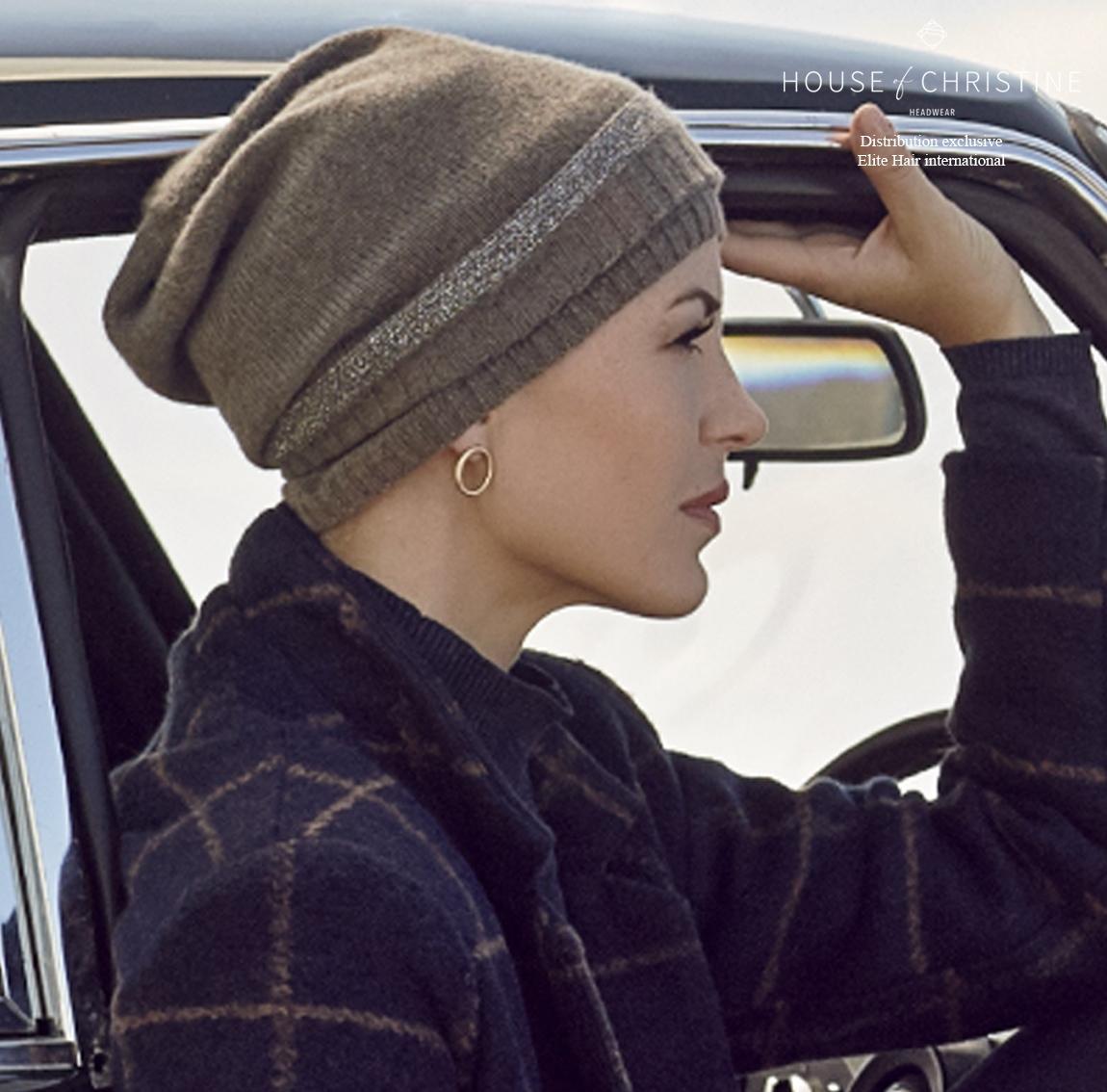 Bonnet cachemire, bonnet chimio cachemire, bonnet chimio hiver, amande, christine headwear