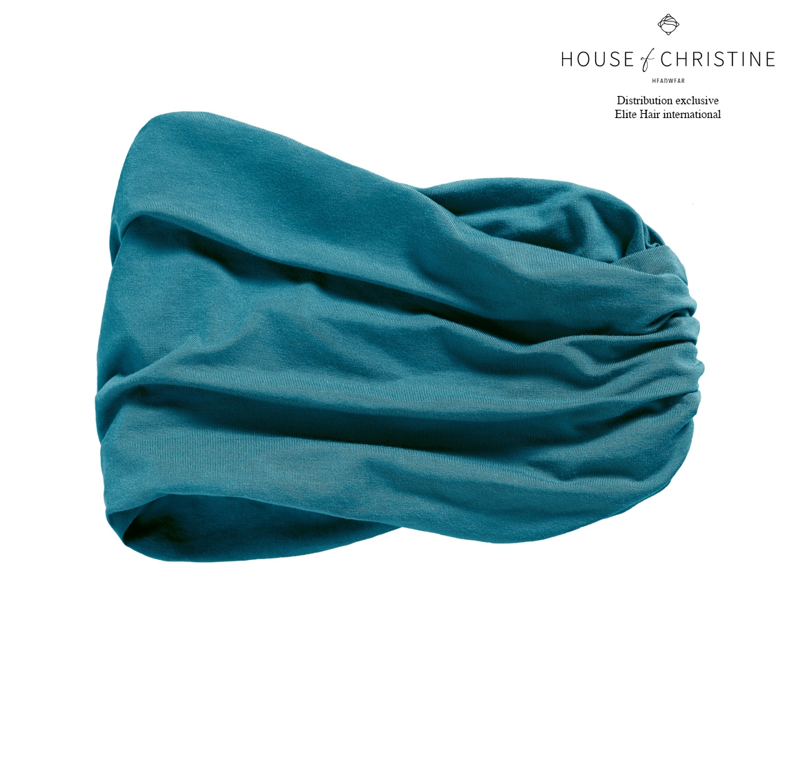 Bandeau chimio karma, bleu pétrole, christine headwear
