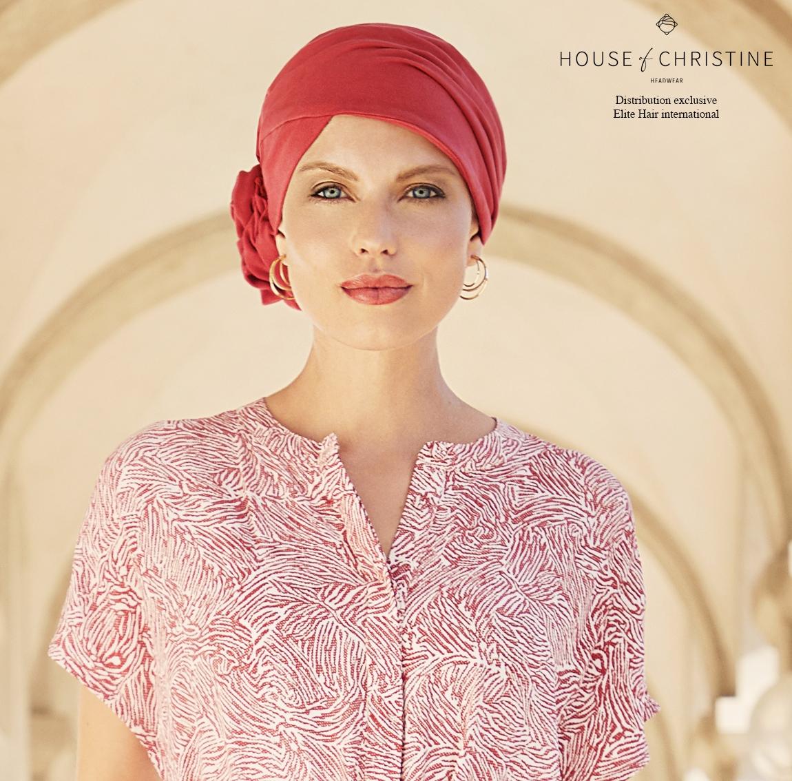 Turban chimio zuri, rouge intense, christine headwear