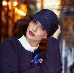 Casquette chimio, casquette femme cancer, boho spirit, tweed nuit étoilée, christine headwear