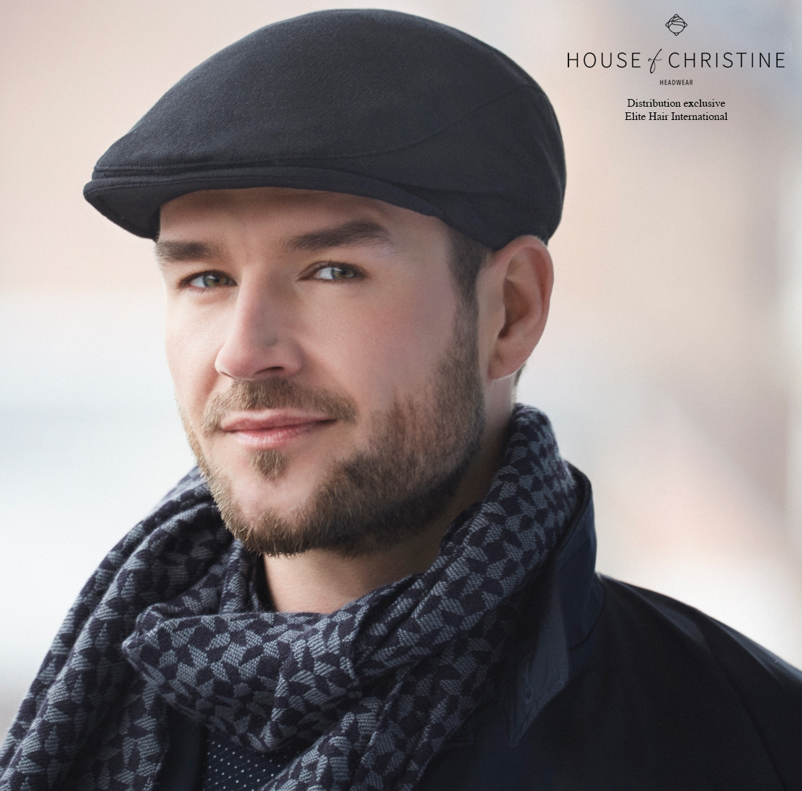 Casquette chimio, casquette homme, noire, laine, christine headwear