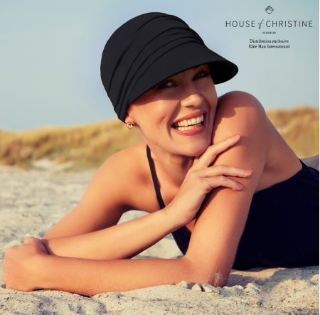 Casquette chimio, casquette femme, soft line sun, onyx, Christine Headwear, technologie 37.5