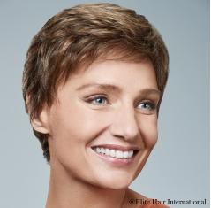 Portrait femme perruque blonde Elegance, cheveux de synthèse, Elite Hair International