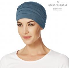Bonnet chimio, bonnet zen bambou, bleu pétrole, Christine Headwear