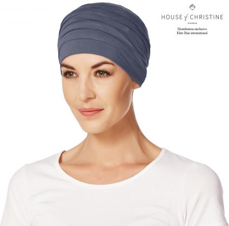 Bonnet chimio, bonnet zen bambou, bleu ardoise, Christine Headwear