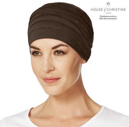 Bonnet chimio, bonnet zen bambou, chocolat, Christine Headwear