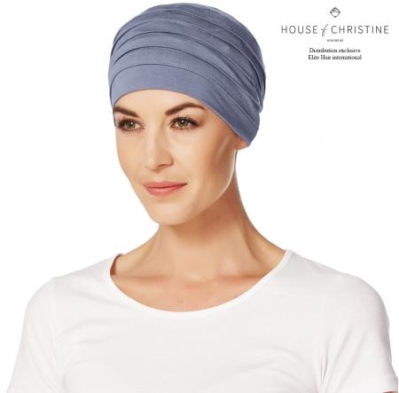 Bonnet chimio, bonnet zen bambou, myosotis, Christine Headwear