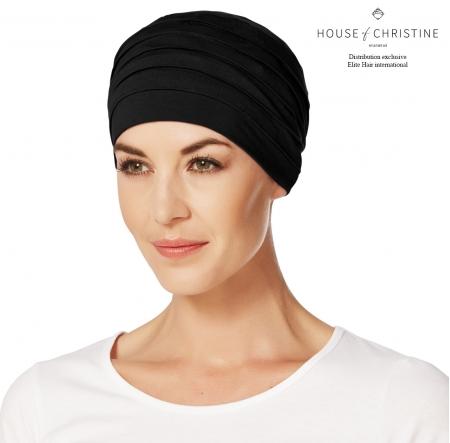 Bonnet chimio, bonnet zen bambou, noir, Christine Headwear