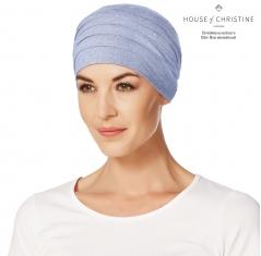 Bonnet chimio, bonnet zen bambou, rêve bleu, Christine Headwear