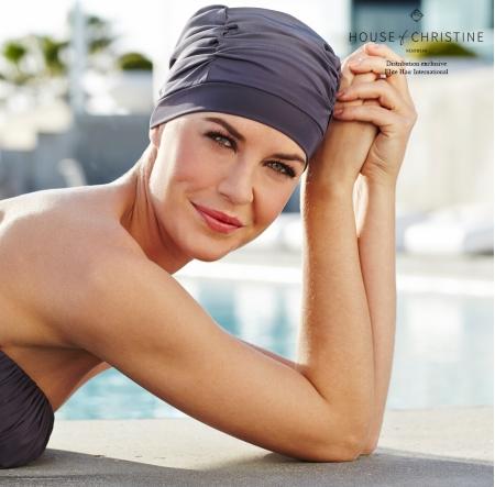 bonnet chimio bain, bonnet chimio piscine, Elite Hair International, Christine headwear, bleu gris