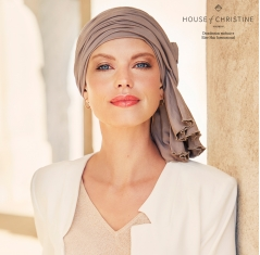 turban chimio, turban avec pans longs pré noués, Elite hair international, bambou caretech, OEKO-TEX®, noisette