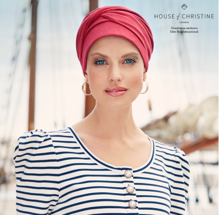 turban mila coton, bandeau pré-noué, Christine Head wear, rouge intense