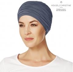 Bonnet chimio, duo karma, bleu ardoise, christine headwear
