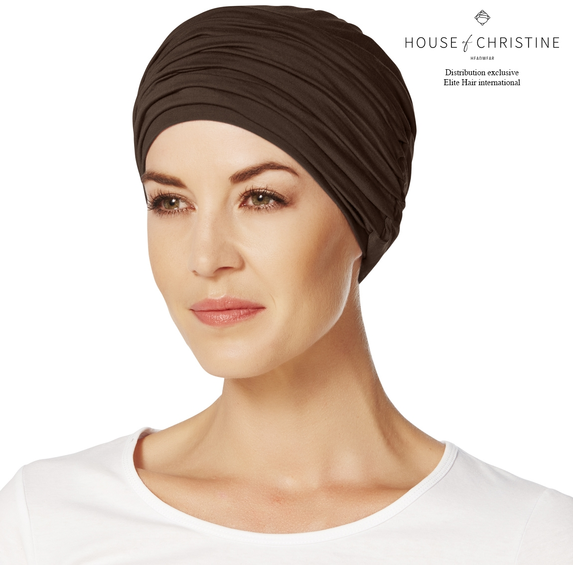 Bonnet chimio, duo karma, chocolat, christine headwear