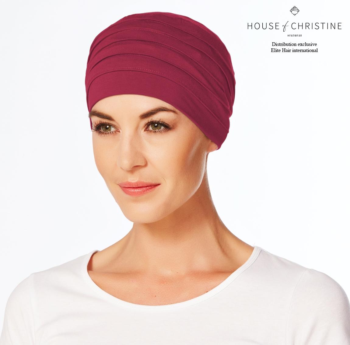 Bonnet chimio, bonnet zen bambou, grenat, Christine Headwear