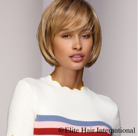 Portrait femme perruque imprévu, blonde, cheveux synthètiques, elite hair international