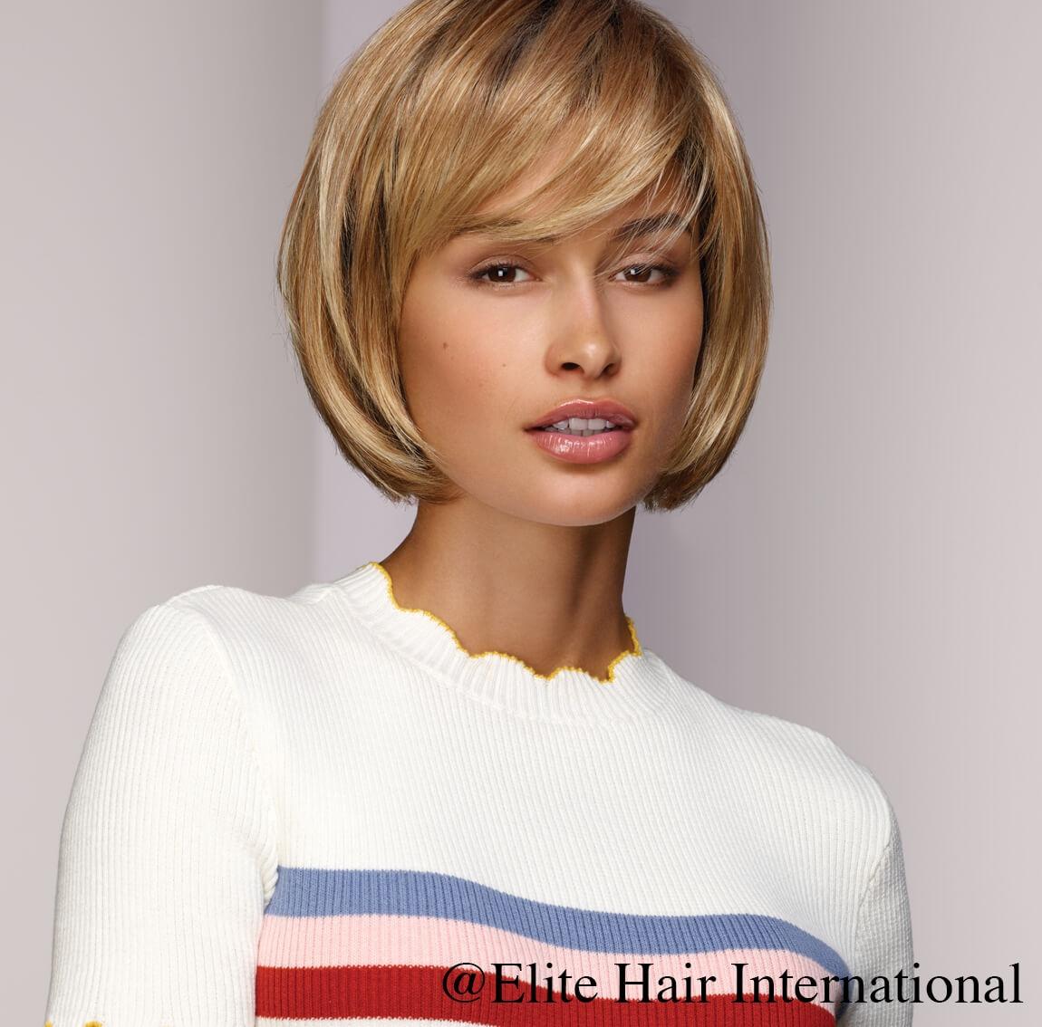Portrait femme perruque imprévu, blonde, cheveux synthètiques, elite hair international