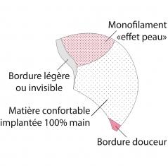Description de la base de la perruque, base ligne bien être *****, cheveux 100% implantés à la main